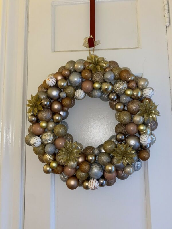 Gold And Silver Ornament Wreath