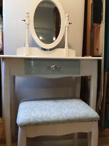 White and aqua vanity with mirror and stool.nautical.