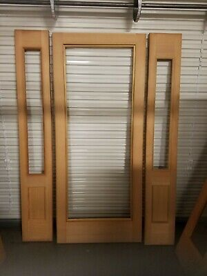 Single Entry Solid Wood Door with 2 side lights - No Glass.