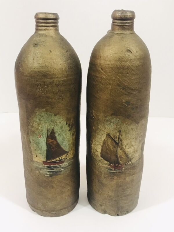 Antique Nautical German Nassau Selters Stoneware Clay Bottle Jug Rare Salt Glaze