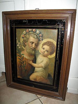Antik Groß Heiligenbild Schutzbild Josef + Jesus Hinterglas Malerei Shabby