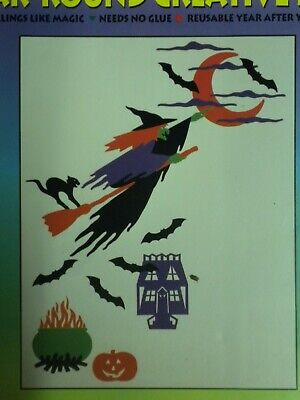 Bewitching Hours Vintage Stik-EES Window Clings Vinyl Decals Witch is 19 x 17 in