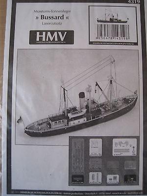 Bussard Tonnenleger Lasercutsatz 1:250 f.Kartonbausatz *NEU* HMV- Bastelbogen