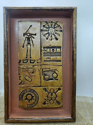 mixed media art original resin tiles in  Eduardo Sanz hieroglyphic inspired