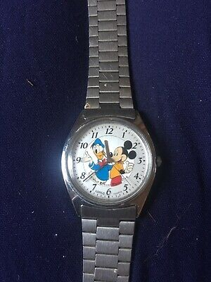 Mens Vintage Lorus Seiko Mickey Mouse & Donald Duck Watch