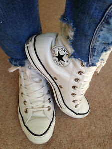 CONVERSE LEATHER CREAM FAUX SHEARLING LINED HIGH TOP SIZE UK 5 EUR 37.5