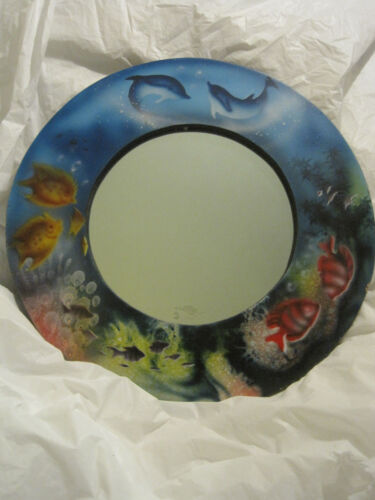 Dolphin and Fish Seascape Wood Mirror~Ocean Coral Reef~Hand Painted~LBDLM