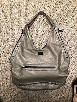 Betsy Johnson Soft metallic leopard Leather Purse Handbag Studded Strap Hobo