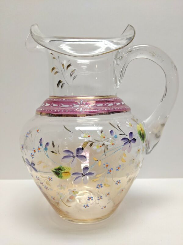 ANTIQUE VICTORIAN ENAMELED LEMONADE WATER RUFFLED PITCHER HAND PAINTED