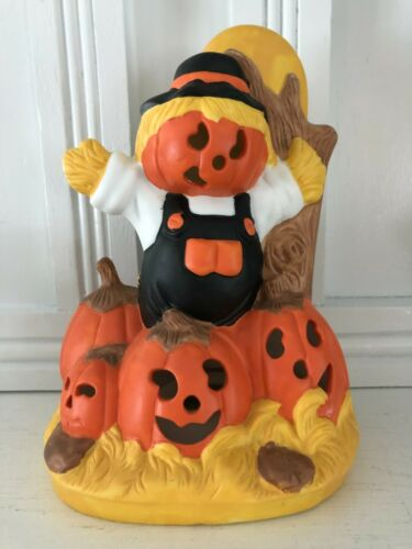 Vintage Halloween Decor Ceramic LIGHT 1989 Pumpkin Scarecrow House of LLoyd CUTE