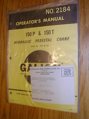 Galion 150p 150t Operators Manual Hyd. Pedestal Crane Operation Maintenance 2184