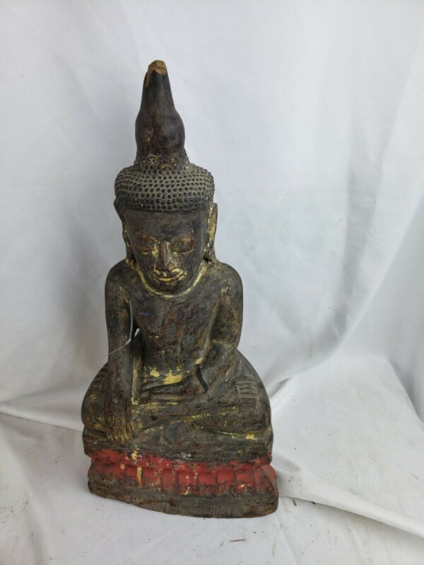 Superb rare antique large Burmese carved wood Buddha figurine