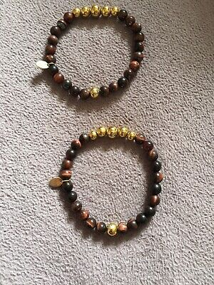 "NOGU.STUDIO - 2 Red Tigers Eye Bracelet. Size - 7"".NWT (2 Bracelet) Red Golden Tigers Eye"