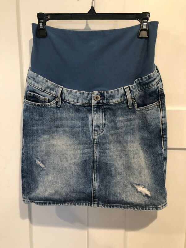 H & M Mama Maternity Jean Skirt Distressed Size 8