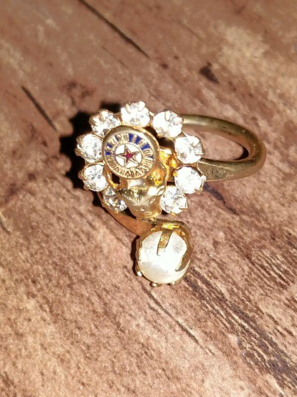 Vintage BPOE Elks Ladies Pearl and Rhinestone Ring