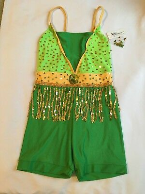 Glamour Costumes womens sz. S Behave dance Halloween costume green/ gold  S1072 - Green Halloween Costumes