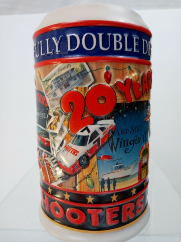 1983-2003 Hooters Large Beer Stein Bar Mug 32oz Heavy Ceramic 20th Anniversary