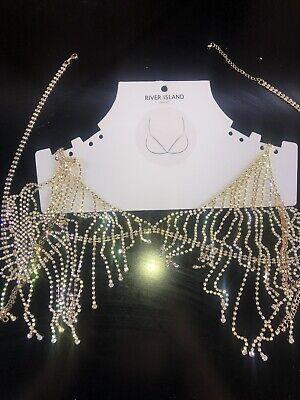 Diamante Gold Sliver Bra Jewellery River Island New Holiday Ibiza Marbella
