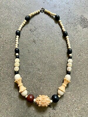 1930s Art Deco Style Jewelry 1930's FRENCH Machine Age carved Galalith Cream Brown necklace choker Art Deco $58.02 AT vintagedancer.com