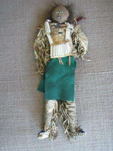RARE Antique Native American Indian Doll~BUCKSKIN, FRINGE, BEADED~Museum Quality