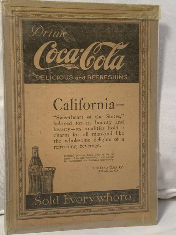 1919 Coca Cola Newspaper Ad San Francisco CALIFORNIA 13x8.5 Inches