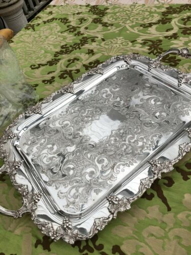 Antique English Sheffield Two-handled Silver Plate Tray - Hallmarked
