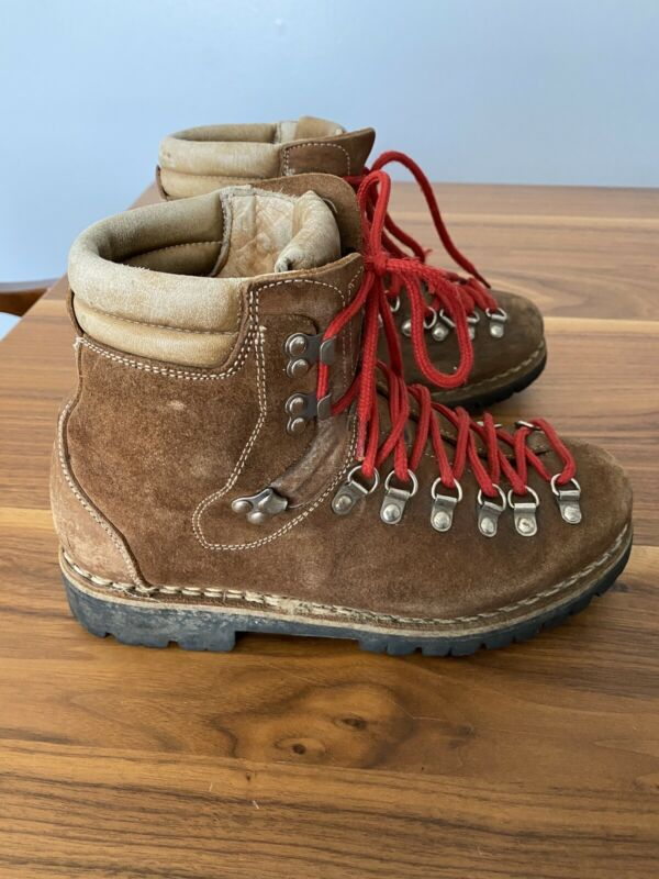 Vintage Brown Suede Leather Hiking Boots Red Laces No Size Fits Women 7.5/8