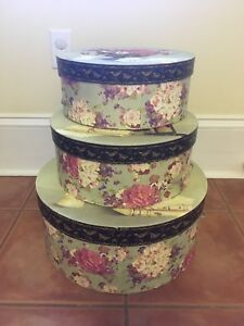3 Floral Storage Boxes