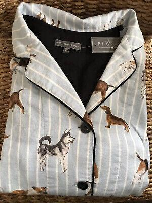 New PJ Salvage Cotton Flannel Soft Warm Striped Blue Dog Pjs Pajamas M Medium