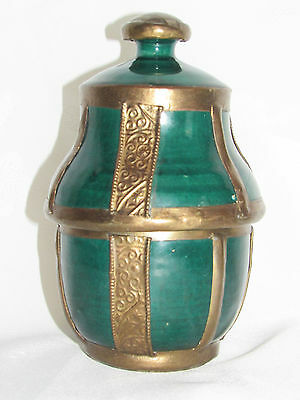 01C9 Antique Pot a Butter Jobbana Brass Repousse Art Islamic Morocco Fes