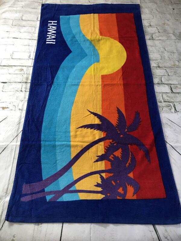 "Vintage 1984 Hawaii 100% Cotton Beach Towel made in Taiwan R.O.C. 31"" x 60"""
