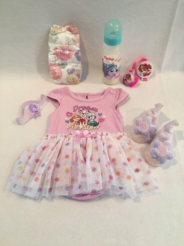 Reborn Baby Doll Paw Patrol Bodysuit W/tutu W/pacifier,bottle,accs