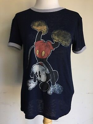 - MICKEY MOUSE Handstand Upside Down Disneyland Burnout Ringer T-Shirt Sz XS