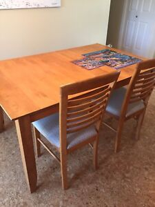 Solid Pine Table, Four Chairs and leaf