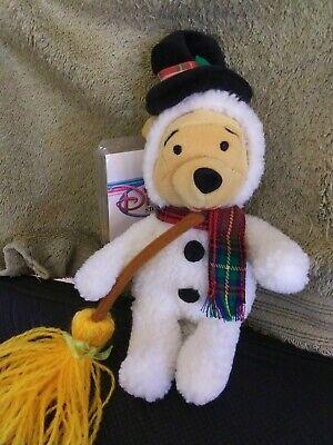 "NEW w/tag + protector- Disney Store -SNOWMAN POOH- 8"" Bean Bag Plush Halloween"