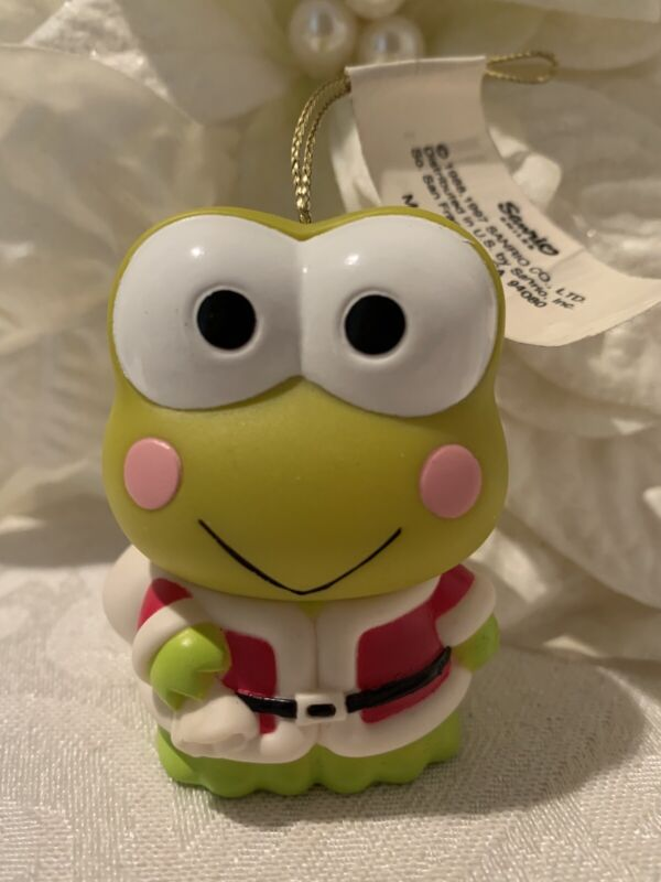 Vintage Keroppi Santa Christmas Ornament Figurine Movable Hello Kitty Frog 1997