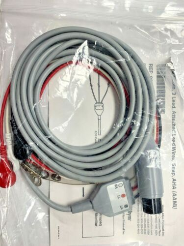 Welch Allyn 008-0315-00  ECG Cable 3 Leads Vital Signs Monitor New
