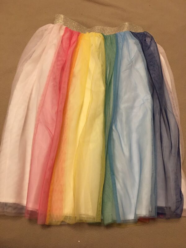 Gorgeous Rainbow Tulle Tutu Skirt Hanna Andersson 150 12 NWT Pink Blue Yellow