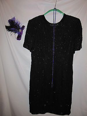 Gangsters & Flappers Costumes (FLAPPER 1920s 20s Gatsby gangster black beaded dress halloween COSTUME  Sz)