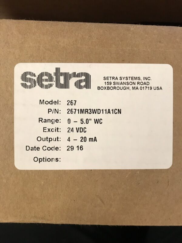 SETRA MODEL 267 2671MR3WD11A1CN Differential Pressure Transmitter NEW IN BOX