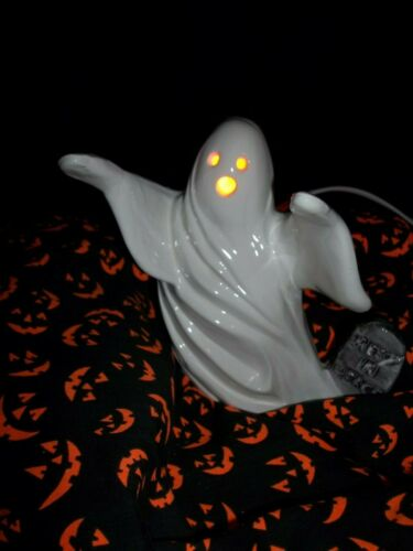 Vtg Inspired 70s Ceramic Tombstone Haunted Ghost LIGHT Old Halloween Graveyard