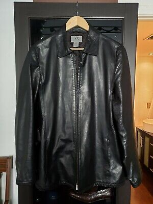 Armani Exchange mens leather jacket size S