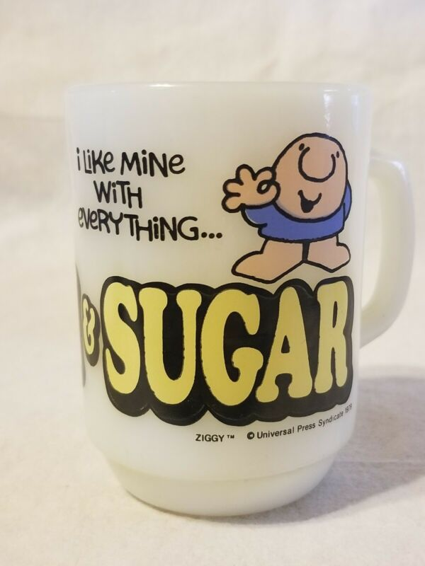 Vintage Anchor Hocking Ziggy Cartoon Coffee Mug Cup Cream & Sugar
