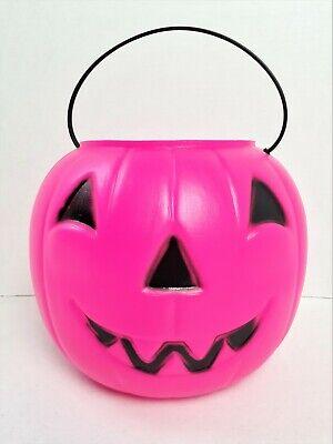 Vintage NOS Empire Pumpkin Blow Mold Hot Pink Halloween Candy Pail Bucket 209
