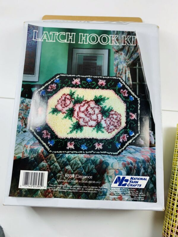 "National Yarn Crafts Latch Hook Rug Kit R854 Elegance Roses 20"" x 27"" NOS"