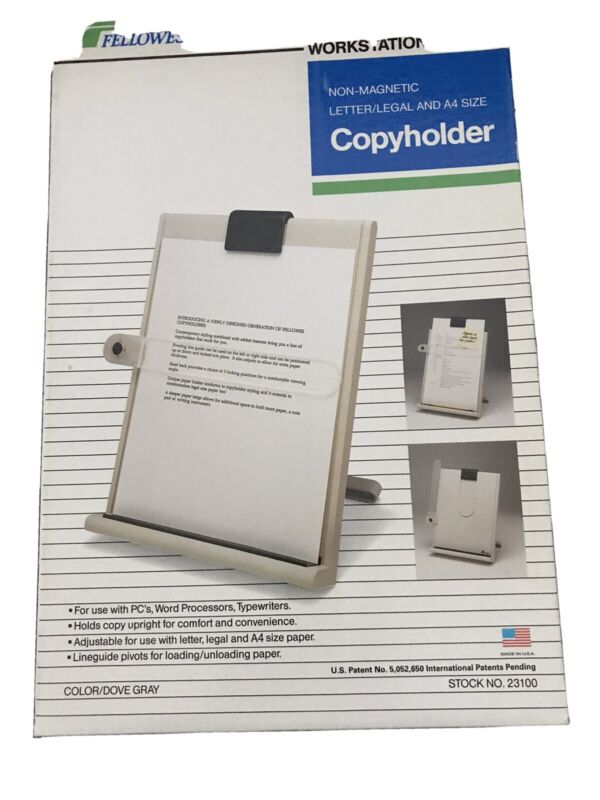 Fellowes Copy Holder Letter/Legal Size Non-Magnetic Workstation Plus NEW 23100