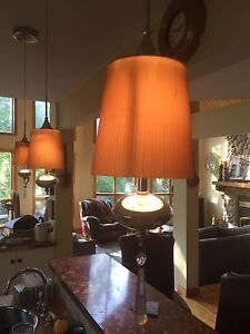 Pendant Lights - 3 - Amber Glass Halogen, Chrome & Crystal