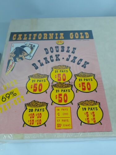 WINDOW PULL TAB TICKET California Gold Double Black Jack  - 2367 Count - $ .25
