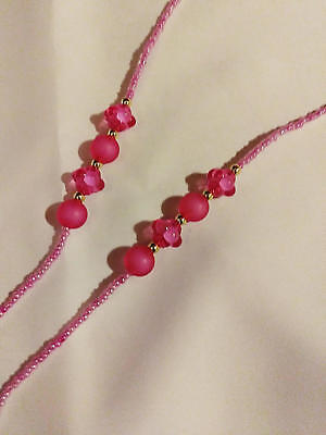 Ladies Bubble Gum Bright Pink Acrylic and Glass Bead Eyeglass Cord 26 Inch ()
