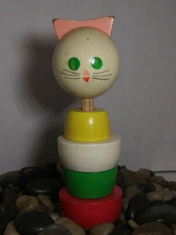 Vintage UK Wood Cat Baby Toy Teether Rattle Bart Smit